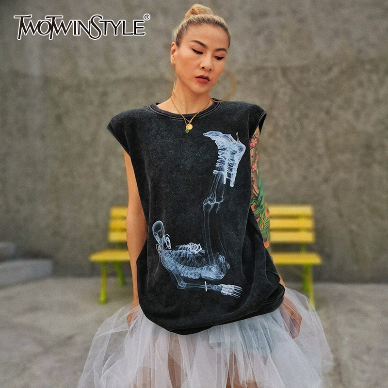 TWOTWINSTYLE Streetwear Style Women T-Shirts Women O Neck Sleeveless Loose Hit Color T Shirts Female Clothing 2020 Fashion Tide