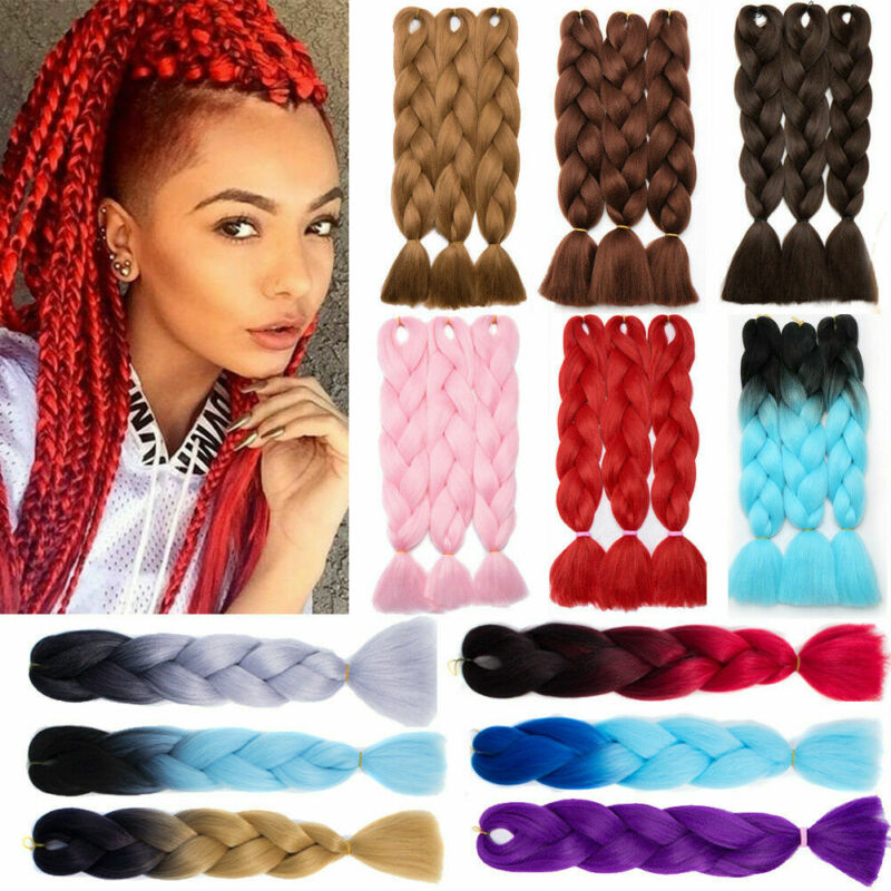 1 Bundle 1 Bundle Jumbo Ombre Braiding Hair Kanekalon Synthetic Twist Braids Hair Extension Headwear Drop Shipping