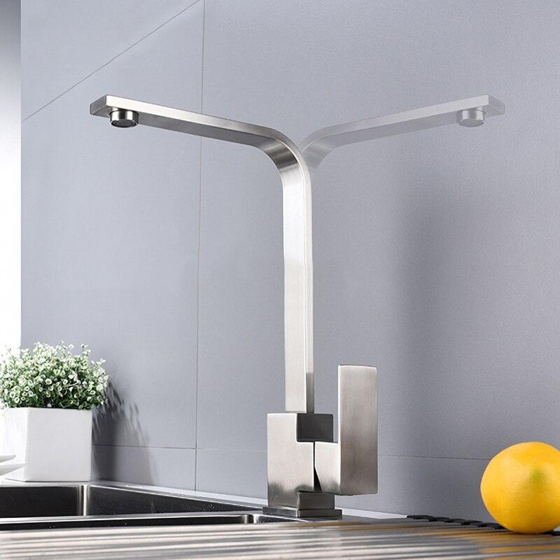 Robinet de cuisine carré 360 degrés robinet d'évier en acier inoxydable rotatif bec pivotant mélangeur froid et chaud robinet d'eau grue poignée unique