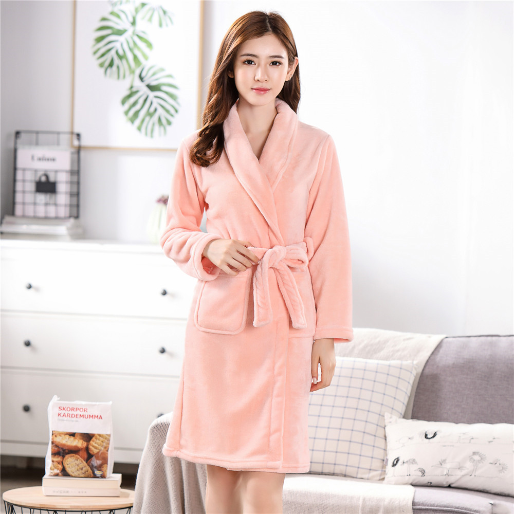 Pink V-neck Coral Fleece Robe Bathrobe Gown Long Sleeve Warm Nightwear Loose Sleep Dress Negligee Resist The Cold Home Clothing
