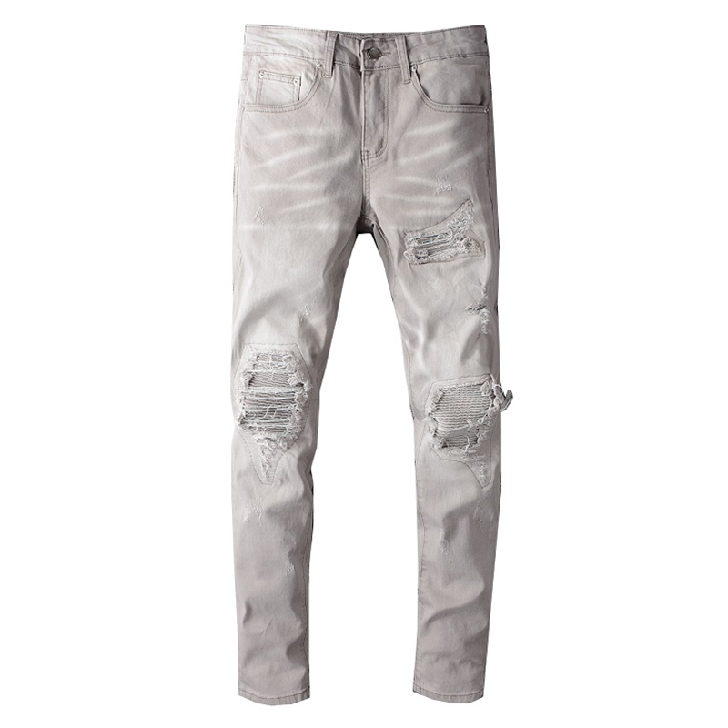 Sokotoo Men's Light Gray Khaki Stretch Biker Jeans Streetwear Holes Ripped Pleated Skinny Denim Pencil Pants