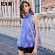 [EAM] Women Purple Pleated Split Blouse New Stand Collar Sle