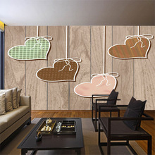 TV background wall painting room bedroom wallpaper decorLarge mural European modern minimalist wooden board love living room free shipping retro wooden board basketball background wallpaper decorative painting kitchen office living room mural