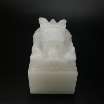 Chinese Hand-carved Natural white Dragon Jade Seal Natural white jade Stone Seal