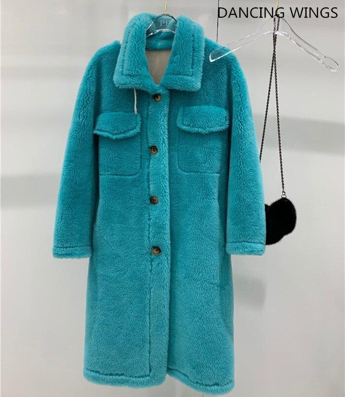 Autumn Winter Real Fur Coat Women Female Natural Sheep Shearing Long Overcoat 100% Wool Jacket