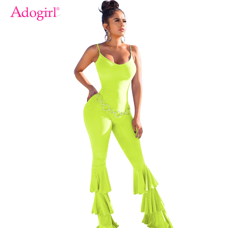 Adogirl Spaghetti Straps Flare Jumpsuit Flare Women Sexy Backless Cascading Ruffles Boot Cut Pants Casual Romper Female Jumper