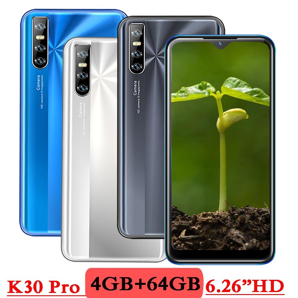 K30 Pro смартфоны 4G RAM 64G ROM Android Капля воды экран 6,26 дюймов лицо разблокирован четырехъядерный мобильный телефон 13 МП дешево Celulares