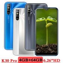 K30 Pro Smartphones 4G RAM 64G ROM Android Wasser Tropfen Bildschirm 6,26 zoll Gesicht entsperrt Quad-Core-Handy telefon 13MP Günstige Celulares