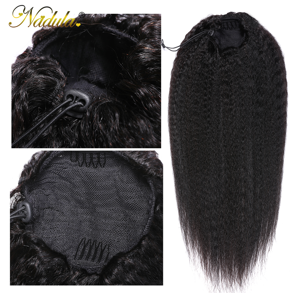 Nadula Hair 10-24inch Kinky Straight Hair Ponytail 1 Pieces Natural Black Clip In Ponytails Drawstring 100%  3