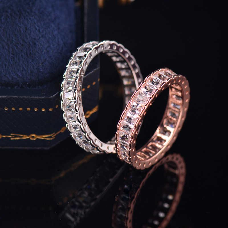 SINLEERY Simple círculo engranaje anillos de boda oro rosa color plateado claro circonita cúbica anillos de compromiso para mujer joyería JZ646 SSD