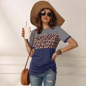 Image 5 - Women 2020 Summer Tee Shirt Female Leopard Stripe Print T Shirt Casual Tops Fashion Streetwear Short Sleeve Cotton T shirt S XXL