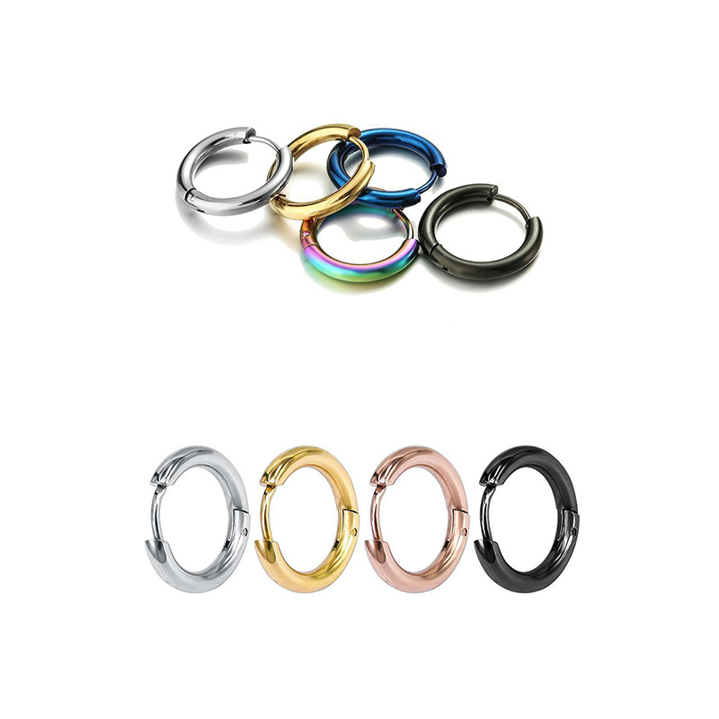 Stainless Steel Hoop Earrings Circle Round Huggie Earrings Golden/Rose Gold color/Blue/Black/Colorful Simple Round earrings