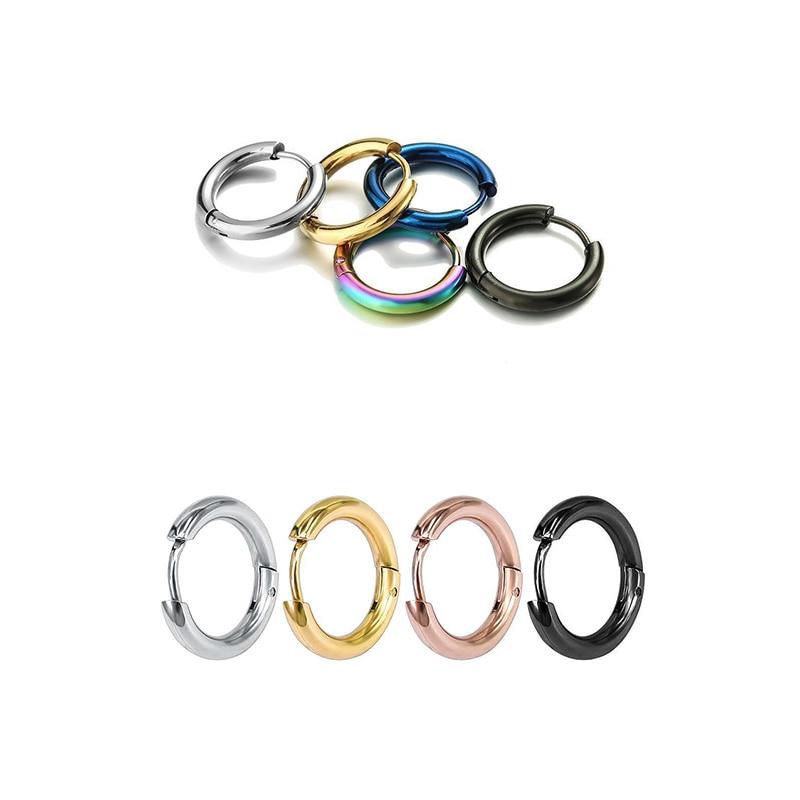 Stainless Steel Hoop Earrings Circle Round Huggie Earrings Golden/Rose Gold color/Blue/Black/Colorful Simple Round earrings