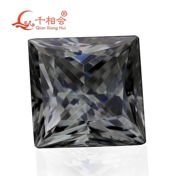 gray color square shape princess cut Sic material moissanites  loose stone by qianxianghui( video is light yellow)