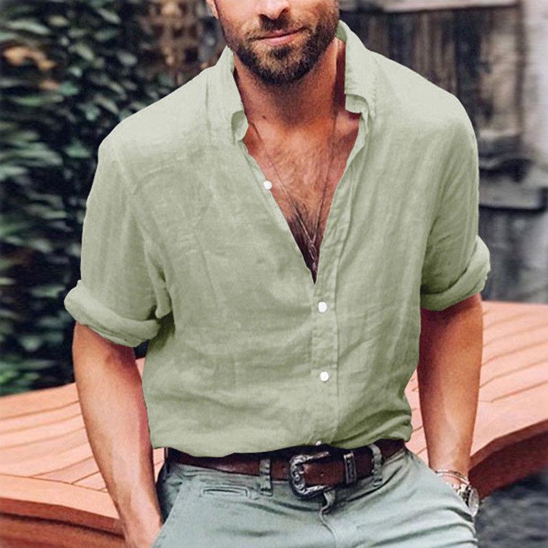 Plus Size Solid Men's Slim Fit V Neck Long Sleeve Linen Shirt