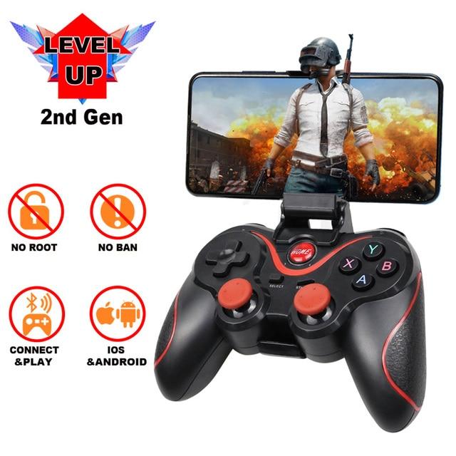 Terios T3 kablosuz oyun denetleyicisi Gamepad Bluetooth 3.0 Joystick cep Tablet telefon TV kutu tutucu