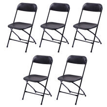 5pcs Folding Chairs Wedding Banquet Seat Premium Party Event Chair Black-US Stock
