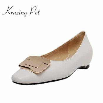 Krazing pot basic solid full grain leather summer square toe low heels square metal buckle decorations French romantic pumps L76