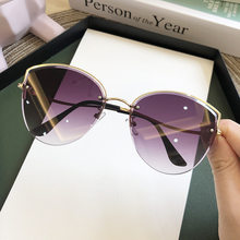 Hohe Qualität frauen Oval Cat Eye Sonnenbrille Dame Metall Randlose shades Luxus Sonnenbrille Weibliche Fahren Gläser zonnebril dames