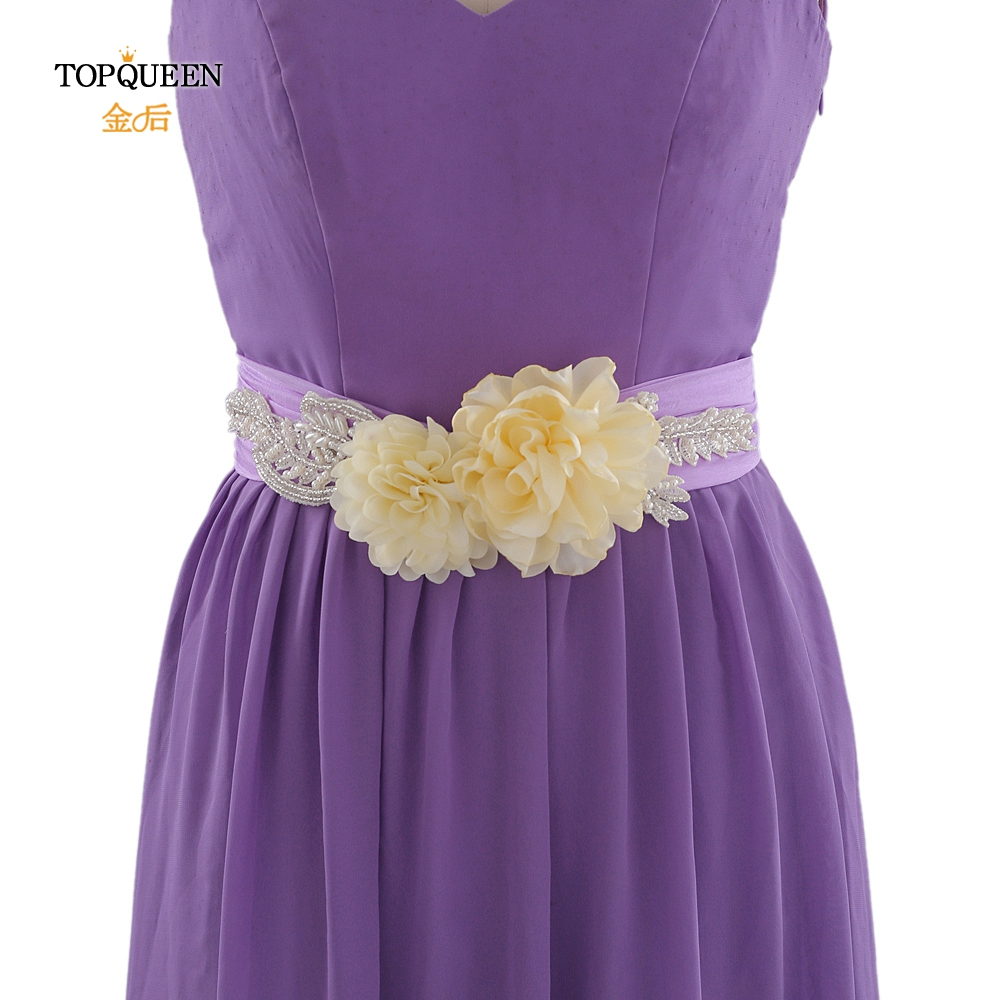 TOPQUEEN S251 Flower Wedding Belt Ladies Belt For Dress  Beaded Pearl Belt Boho Flower Belt Beaded Waist Belt Bridal Dress Belts