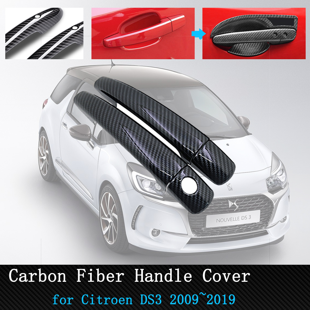 for Citroen DS3 2009 2019 Black Carbon Fiber Door Handle Cover Trim Car Accessories 2011 2012 2013 2014 2015 2016 2017 2018