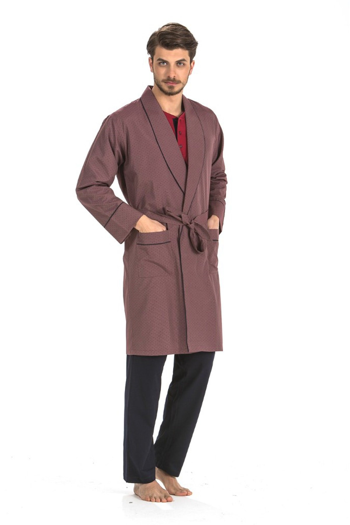 Pierre Cardin 5 Li Long & Şortlu Sleepwear Robdöşambır Set