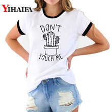 Ulzzang Women 3D T Shirts Cactus Print Do Not Touch Me Graphic Tee Creative T-shirt Summer White Casual Unisex Tops