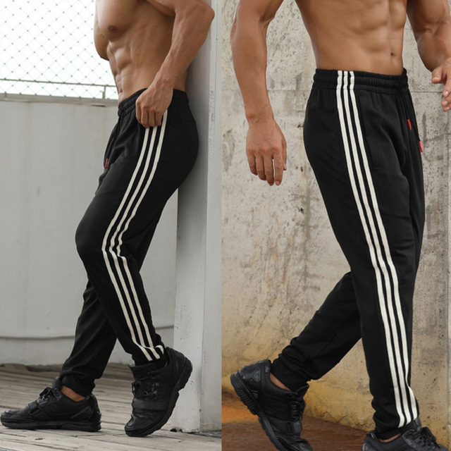 Gym Men's Sport Running Pants Stripes Zipper Pockets Training Pants Workout Athletic Football Soccer Gym Pants Men Sweatpants 3