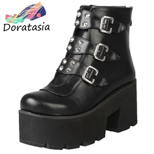DORATASIA Plus Size 33-46 High Platform Booties Ladies Black Pink Rivet Ankle Boots Women 2019 Winter Heels Shoes Woman