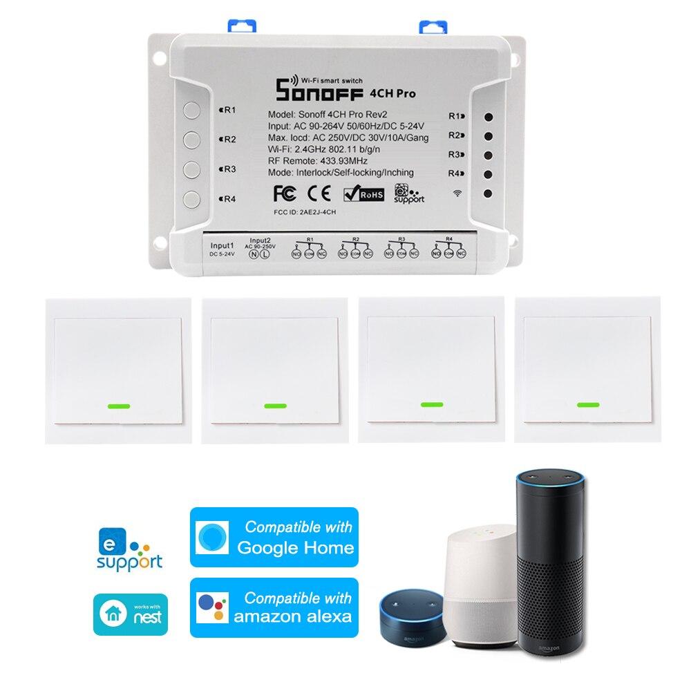 Commutateur WiFI SONOFF 4CH Pro ITEAD RF 433MHz 4 gangs 3 Modes de fonctionnement Inching/autobloquant/Interlock commutateur intelligent WiFi