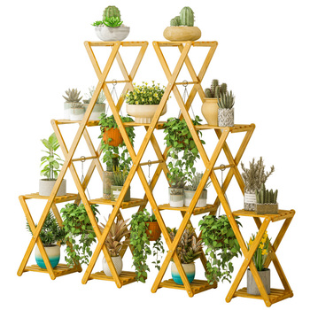 Flower Stand Rack Balcony Flower Pot Rack Floor Living Room Green Radish Meat Wood Flower Shelf Multi-layer Household Free Insta