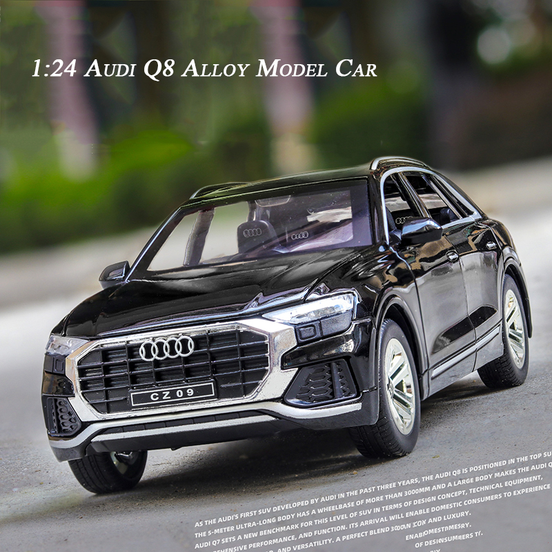 1:24 High Simulation Alloy Car Model Audi Q8 Off-road Model With Sound And Light Pull Back Toys For Children Car Collection