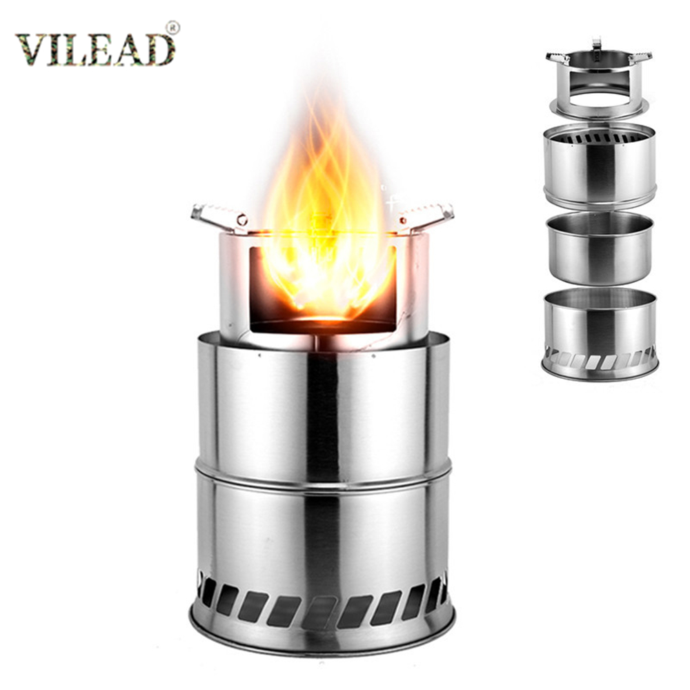 VILEAD Foldable Camping Wood Stove Stainless Steel Portable Outdoor Cooking Burner Wood Heater for Hiking Fishing Picnic BBQ(China)