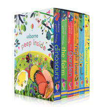 6 Pcs Usborne Peep Inside The Zoo Animal English Educational 3D Flap Picture Books Baby Children Reading Book for child Gifts usborne look inside the jungle
