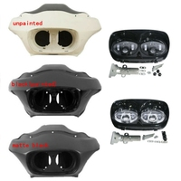 Motorcycle Inner Outer Front Fairings Dual LED Headlight For Harley Road Glide FLTR 98 13