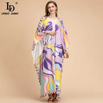 LD LINDA DELLA Fashion Runway Loose Maxi Dress Plus Size Women Batwing Sleeve Multicolor Printing Knitting elastic Long Dress ld linda della 2019 autumn women new dress runway fashion designer long sleeve simple bow printed casual a line ladys dresses