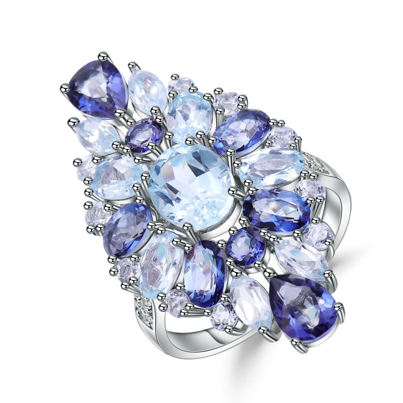 Gem's Ballet Multicolor Natural Sky Blue Topaz Mystic Quartz Rings For Women 925 Sterling Silver Gemstone Ring Fine Jewelry