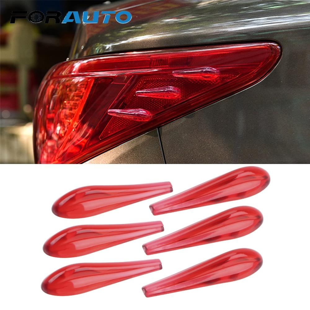 FORAUTO 6 Piece/Set Car Tail Light Sticker Airflow Sticker Anti Collision Car Spoiler Acrylic Bumper Decor Strip Car-styling
