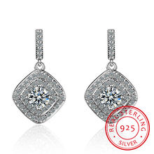 Authentic real 925 sterling silver vintage allure clear cz stud