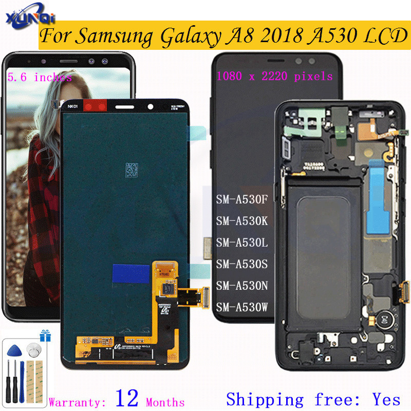 Super OLED LCD For <font><b>Samsung</b></font> Galaxy A8 2018 A530 SM-<font><b>A530F</b></font> A530DS A530N Touch <font><b>Screen</b></font>+Digitizer LCD Display Assembly With Frame LCD image