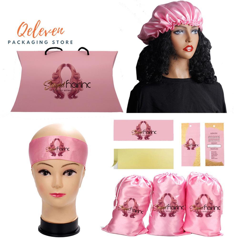 Custom Logo Virgin Hair Bundle Packaging Set Satin Bags/Edge Head Scarf/Hang Tag/Sticker Hair Bundle Wraps/Bonnets For Wigs