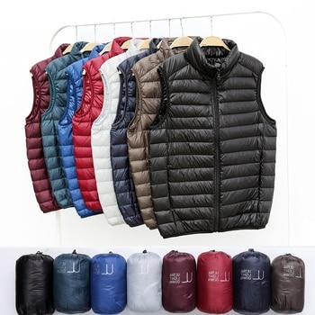 Winter Men Duck Down Vest Coat Ultralight Sleeveless Puffer Vest Jacket Fashion Stand Collar Windproof Duck Down Waistcoat