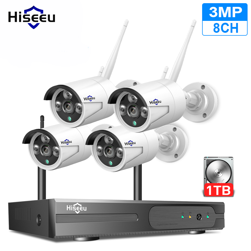 Hiseeu 3MP Wireless WIFI CCTV System 8CH NVR Kit H.265+ 4Pcs Outdoor Audio Security IP