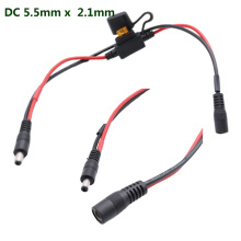 CCTV DC 5.5mm x 2.1mm Male to Female Power Cable with 5A Fuse for LED Strip Surveillance Camera Security Equipment 40cm 14AWG