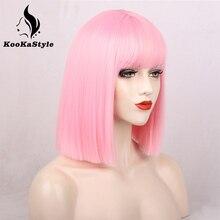 Парик KookaStyle короткий прямой для женщин, синтетический, розовый/черный и розовый, для косплея, искусственные волосы среднего размера, естест...