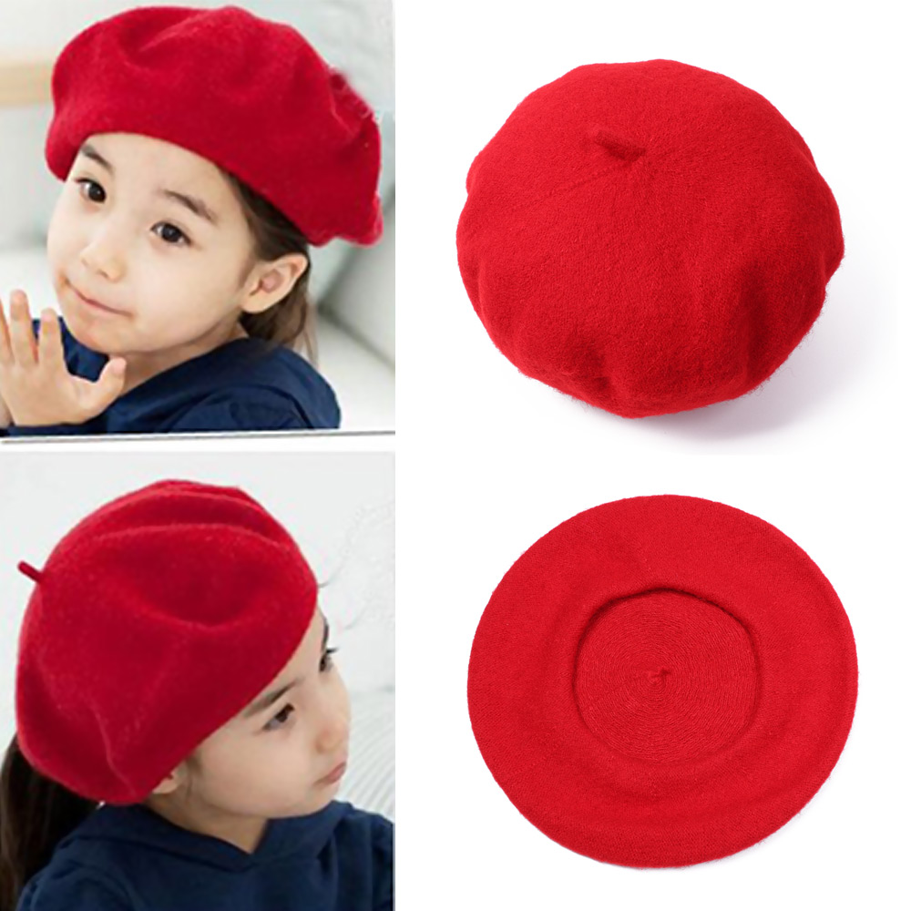 Baby Kids Girl Boy Winter Warm Beret Hat Toddler Child Cotton Winter Solid Cap