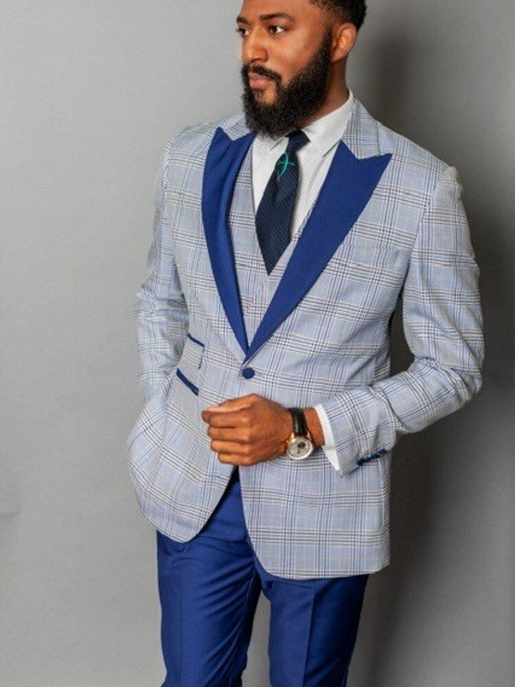Custom Made Groomsmen One Button Groom Tuxedos Peak Lapel Men Suits Wedding Best Man 3 Pieces ( Jacket+Pants+Vest+Tie ) C854