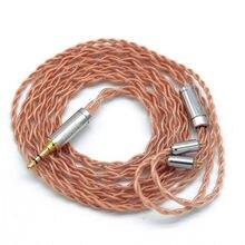 Faaeal cabo do fone de ouvido 4 núcleo de alta pureza cabo de cobre com 2pin/mmcx conector 3.5 \ 4.4 \ 2.5mm atualizar cabo para estanho \ tfz fones de ouvido