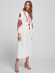 Image 4 - Ethnische Stil Muslimischen Frauen Langarm Maxi Kleid Stickerei Arab Abaya Cocktail Kordelzug Vintage Kleid Ukrainischen Vyshyvanka
