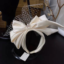 Винтажная сетчатая повязка на голову с бантом цвета шампанского